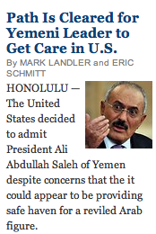 """Path is cleared for Yemen Leader to Get Care in U.S."" Screen Shot 2011-12-27 at 6.52.03 AM"