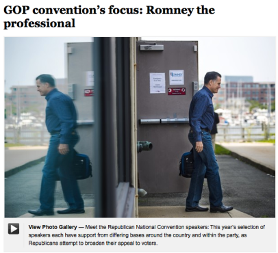 GOP convention's focus: Romney the professional  ==========NH: You, WMR and PDR, certainly have the blue jean image, whereas you, BHO and JRB haven't been seen once in blue jeans since when where? - Screen Shot 2012-08-18 at 7.51.18 AM