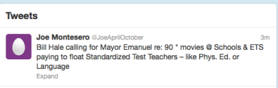 "Bill Hale calling for Mayor Emanuel re: 90 "" movies @ Schools & ETS paying to float Standardized Test Teachers – like Phys. Ed. or Language  - Screen Shot 2012-09-11 at 4.33.55 AM"