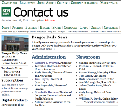 """The Bangor Daily News"" is a family owned newspaper - Screen shot 2012-09-28 at 23.06.49"